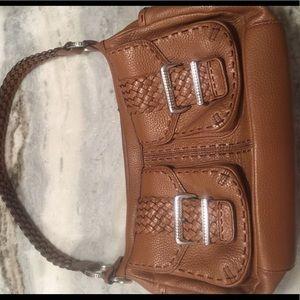 Brighton Saddle Leather Shoulder Bag w/Braid Strap
